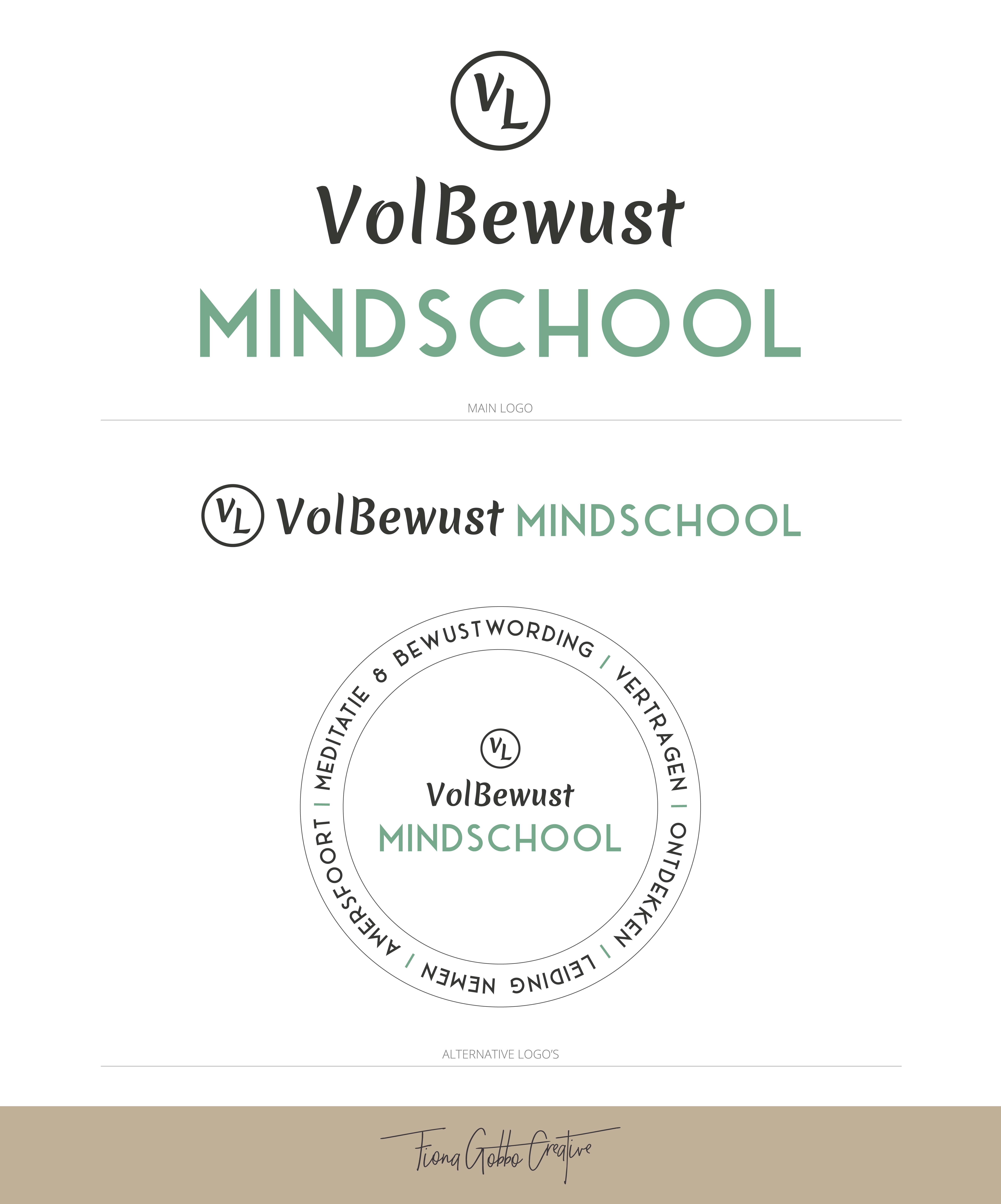Alt text: VOLBEWUST MINDSCHOOL | LOGO DESIGN FOR A NEW LABEL | designing a Starterlogo that is recognizable but still has its own identity